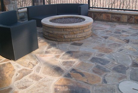 Flagstone pool deck and firepit - Silvara Stone