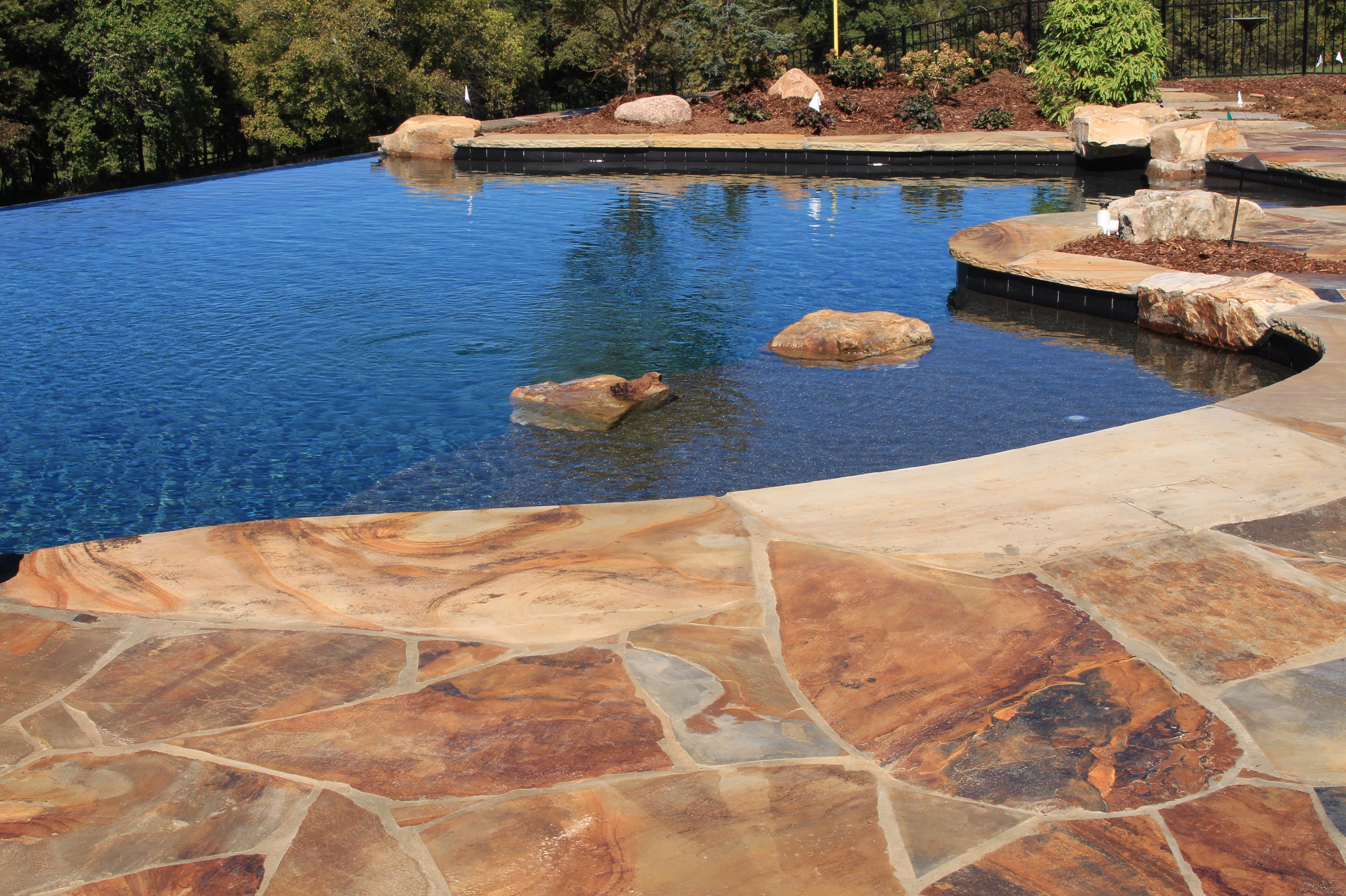 Boulders Around Pool Flagstone Coping Around Poolbeautiful The Pool Was Finished Out